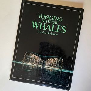 Vintage 80s Whales Coffee Table Book Blue Retro